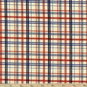 Who's On First Plaid Cotton Fabric - Cream