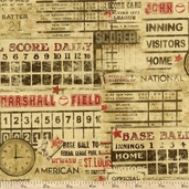 Who's On First Scoreboards Cotton Fabric - Tan