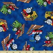 Who's That Train Cotton Fabric - Blue 22355-N