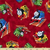 Who's That Train Cotton Fabric - Red 22355-R