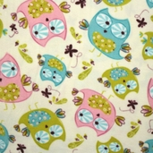 Whoo's Cute Owl Fleece  Fabric - Cream 61605-1