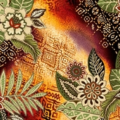 Wild Beat Cotton Fabric - Rust