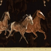 Wild Horses Cotton Fabric - Brown 8303-90