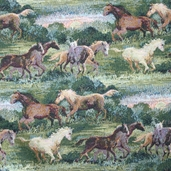 Wild Horses Upholstery Fabric - 60 in. Multi Color - Clearance