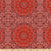 Wild West Bandana Cotton Fabric - Red WA-2008-2C