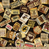 Wild Wild West Signs Cotton Fabric - Black