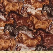 Wild Wings Running Horses Cotton Fabric - Brown WW-9023-1C