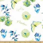 Wildflower Cotton Fabric - Butterfly Garden - Cornflower