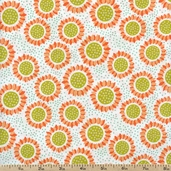 Wildflowers Gerbers Cotton Fabric - White