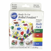 Wilton Rolled Fondant - Primary Colors Multi Pack