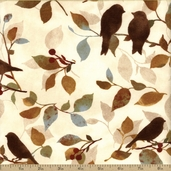 Wind Symphony Birds Cotton Fabric - Beige