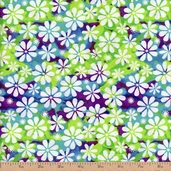Windy Daze Tossed Floral Cotton Fabric - White/Multi