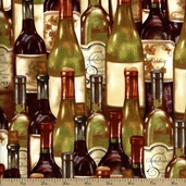 Wine A Little, You'll Feel Better Bottles Cotton Fabric - Ivory