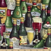 Wine Country Bottles Cotton Fabric - Multi 1429-11125-732