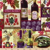 Wine Country Patch Collage Cotton Fabric - Multi