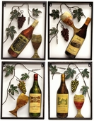 Wine Metal Wall Art Decor - Set of 4