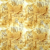 Wine Tasting Cotton Fabric - Gold