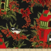 Winter Berries Bird House Cotton Fabric - Midnight Gold