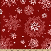 Winter Essentials Large Snowflake Cotton Fabric - Red