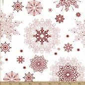 Winter Essentials Large Snowflake Cotton Fabric - White