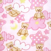 Winter Fleece Prints - Baby Teddy Bear - Pink
