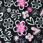 Winter Fleece Prints - Butterfly Heart Song - Black
