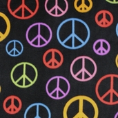 Winter Fleece Prints - Conversational Peace Signs - Black