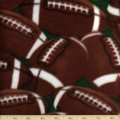 Winter Fleece Prints Footballs Polyester Fabric - Brown