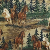 Winter Fleece Prints - Horses and Southwest Mustang Valley - Brown