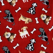 Winter Fleece Prints - Kids Friendly Pups - Red