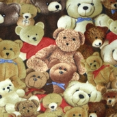 Winter Fleece Prints - Kids Teddy Bear Party - Brown