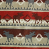 Winter Fleece Prints - Northwoods Moose Stripe - Brown