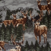 Winter Fleece Prints - Northwoods Mountain Deer - Grey
