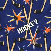 Winter Fleece Prints - Sports Hockey - Blue