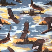Winter Fleece Prints - Sunset Eagle Polyester Fabric 32833