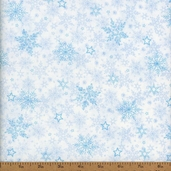 Winter Frost Snowflakes Cotton Fabric - Light Blue