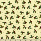 Winter Parade Holly Leaves Cotton Fabric - Cream