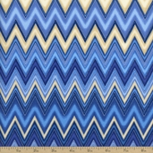 Winter's Grandeur 2 Chevron Cotton Fabric - Indigo