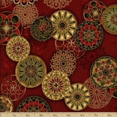 Winter's Grandeur Medallion Toss Cotton Fabric - Holiday