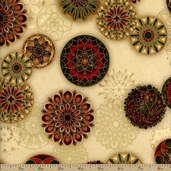 Winter's Grandeur Medallion Toss Cotton Fabric - Natural