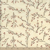 Winter's Song Branches and Berries Cotton Fabric - Ivory