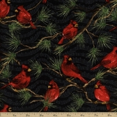 Winter's Song Cardinals Cotton Fabric - Black
