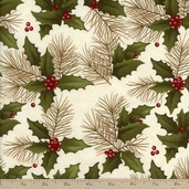 Winter's Song Holly Pine Cotton Fabric - Ivory