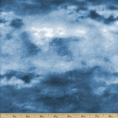 Winter Stillness Clouds Cotton Fabric - Blue