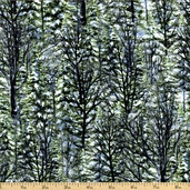 Winter Stillness Snowy Pine Cotton Fabric - Green