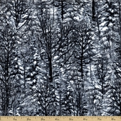 Winter Stillness Snowy Pine Cotton Fabric - White