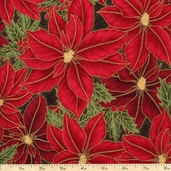 Winter Wishes Large Poinsettia Cotton Fabric - Red