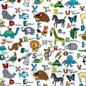 WinterFleece ABC Animals Polyester Fabric - White