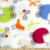 WinterFleece Fabric - Carriages - White