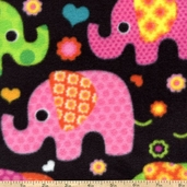 WinterFleece Fabric - Elephants - Black
